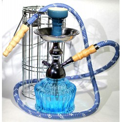 "MYA QT 14"" CAGED HOOKAH SHISHA SET SINGLE HOSE ( Sky Blue )"
