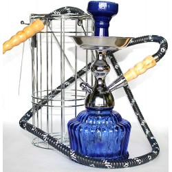 "MYA QT 14"" CAGED HOOKAH SHISHA SET SINGLE HOSE ( Dark Blue )"