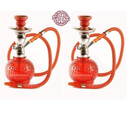 "Two of 9"" Zena Pumpkin Hookah (1 Hose)"